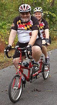 Bil and Nan on tandem bike