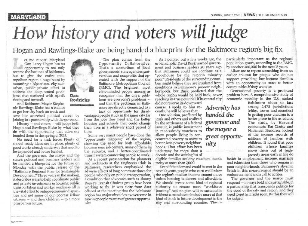 Dan Rodricks Baltimore Sun article 6-7-15
